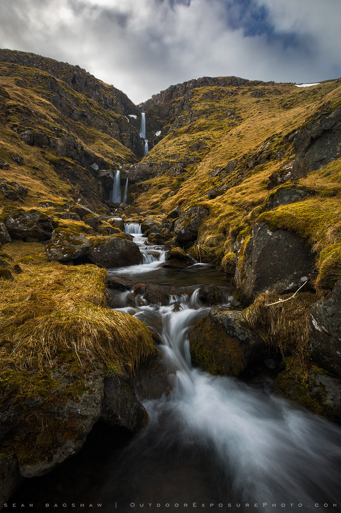 Stream with waterfalls in Iceland.