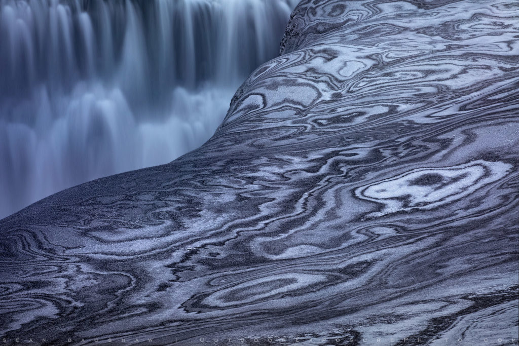 Dettifoss and snow patterns in Iceland.