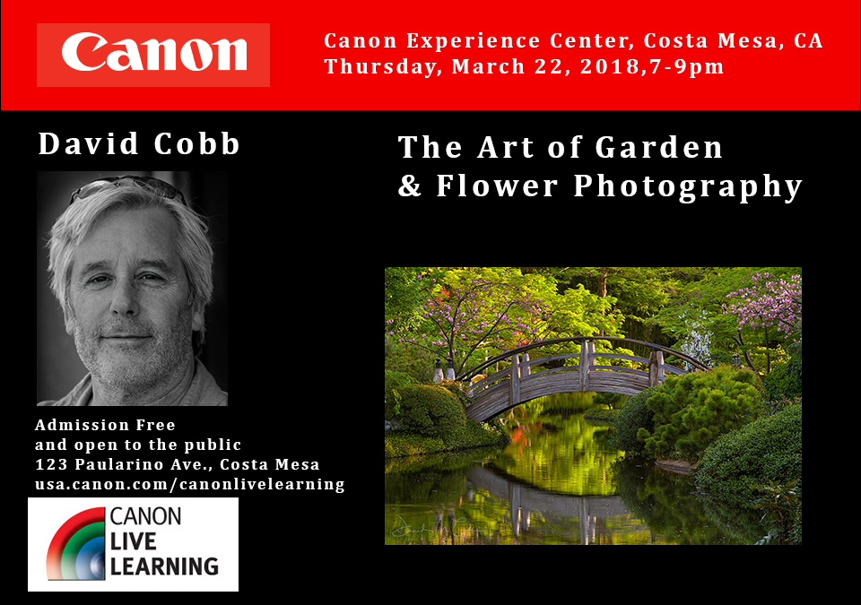 David Cobb to Speak at the Canon Experience Center in Costa Mesa