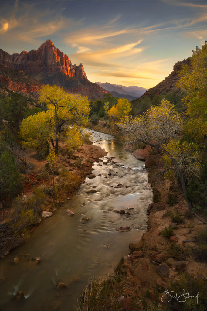 Virgin river, and the sentinel at Sunset.  Zion National Park, Utah