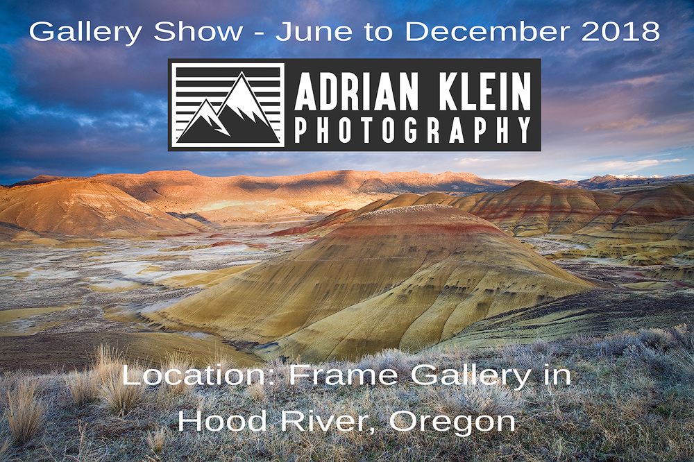 Adrian Klein fine art metal gallery show in Hood River, Oregon - From locations like Painted Hills, Mount Adams and Mt St Helens