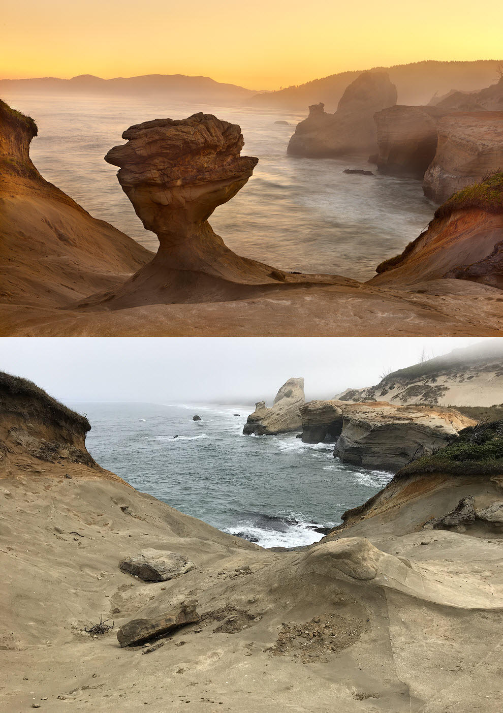 Cape Kiwanda Oregon - Before and After Hoodoo