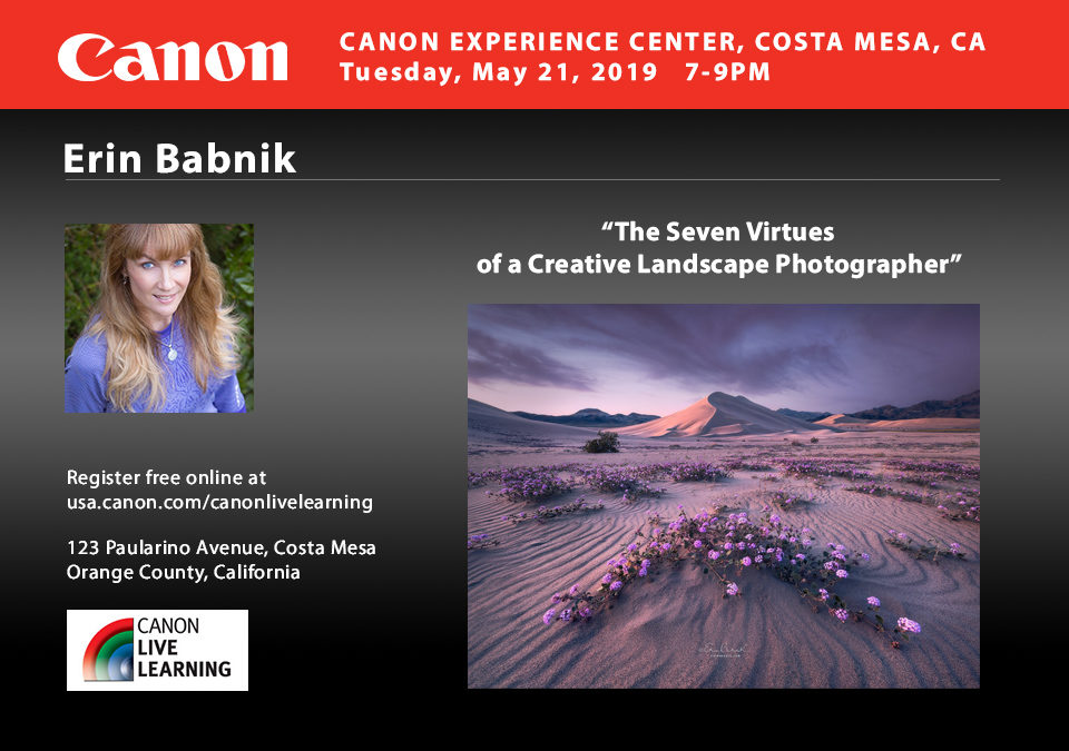 Erin Babnik to Speak for Canon in the Los Angeles Area
