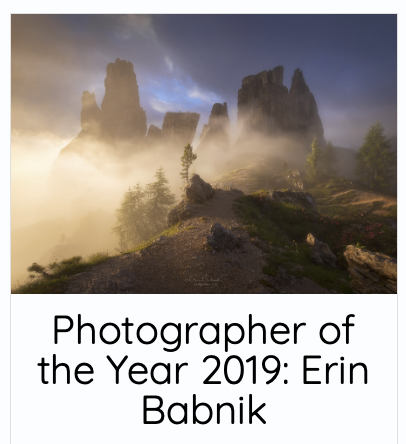 Erin Babnik Named Photographer of the Year in 2019 by Capture Landscapes